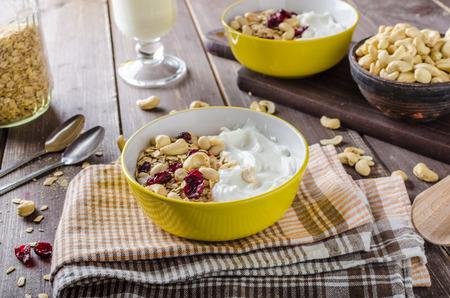oatmeal: Oatmeal with yogurt, nuts and dried fruit Stock Photo