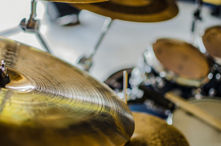 Band drums real concert, selective focus on drums instruments Stock Photo