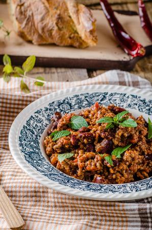 con: Chilli con carne, spicy and delicious food