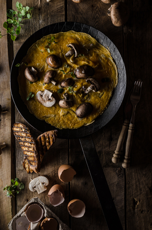 styled: Omelette with forest mushrooms, rustic styled photo, place for advertising