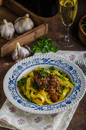 flavours: Italian pasta with beef stew, rustic food, lots of delicious flavours