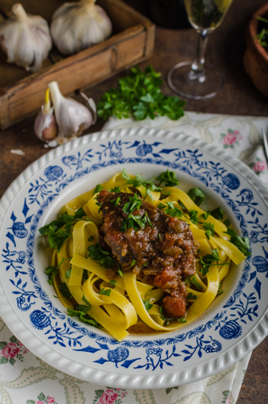 semolina pasta: Italian pasta with beef stew, rustic food, lots of delicious flavours