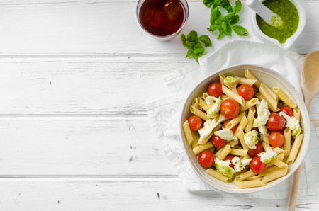 Pasta salad with milan pesto and cherry tomatoes