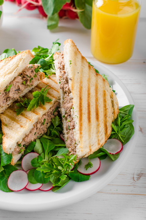 sandwitch: Tuna salad sandwitch with lambs lettuce and radishes Stock Photo
