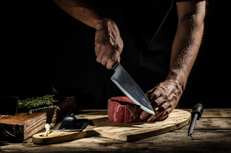 Heerlijke biefstuk, product foto, plaats voor uw reclame Stockfoto