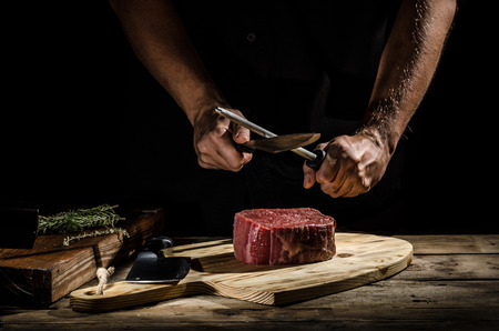 prime adult: Delicious beef steak, product photo, place for your advertisment