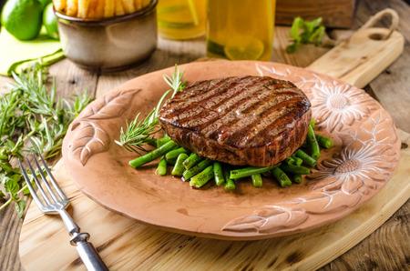 Beef sirloin steak with homemade lemonade and fazolkama