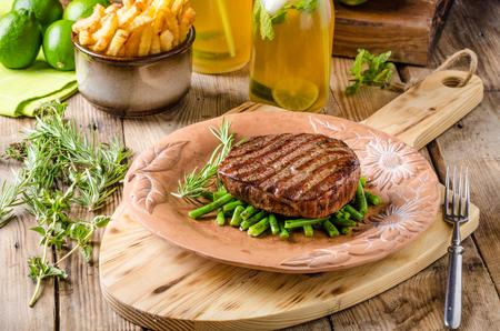 sear: Beef sirloin steak with homemade lemonade and fazolkama