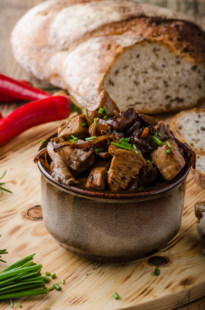 sear: Teriyaki chicken with bread, homemade sear chicken with chili and herbs Stock Photo