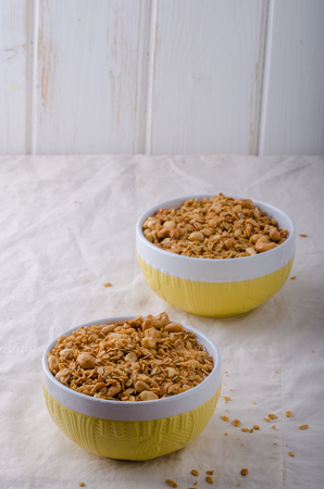 maple syrup: Baked granola with sugar, nuts, maple syrup