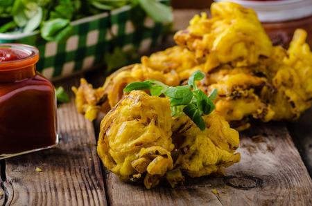 Crispy Onion Bhaji, delicious street food, simple to make, very fast Stock Photo