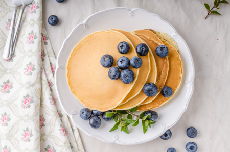 original plate: American pancakes with blueberries and maple syrup
