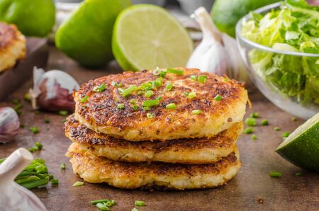 Potato pancakes with garlic and herbs, fresh and delicious food