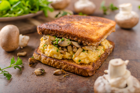 French toast scrambled eggs, fresh mushrooms and herbs inside, delicious and simple!
