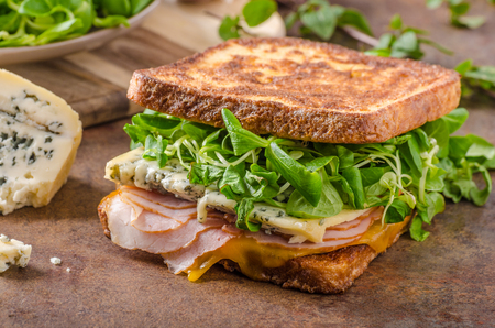 melted cheese: French toast blue cheese salad, delicious ham, melted cheese