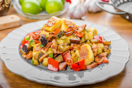 mediterranean home: Home baked gnocchi with bacon and Mediterranean vegetables