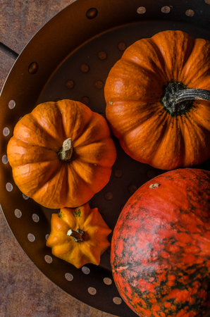 Pumpkin product photo, place for test, wood background
