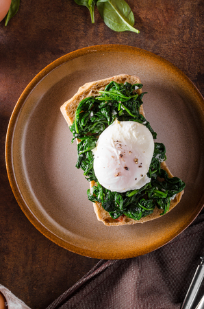 benedict: Egg benedict with garlic spinach, toasted baquette