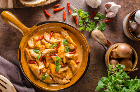 Delicious curry homemade, with little spicy peppers and fresh herbs! Stock Photo
