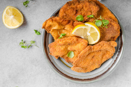 Delicious original schnitzel with potato pancakes, fresh juice, pancakes with garlic and herbs Stock fotó - 71425076