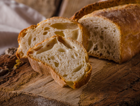 Ciabatta bread product photo, place for advertising, styled rustic photo Reklamní fotografie