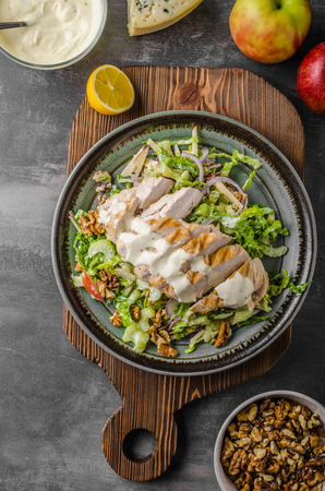 Waldorf salad with grilled chicken, delicious and simple recipe with blue cheese Stok Fotoğraf