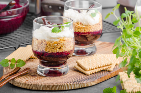 trifle: Cheesecake in glass with chocolate and mascarpone