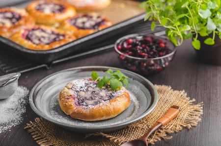 De rustieke minicake met bessen en de suiker verkruimelen Verrukkelijk voedsel, voedsel gestileerde fotografie