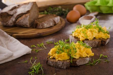 Scrambled eggs, wholegrain bread with fresh microgreens on top Фото со стока