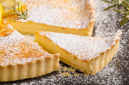 Delish leamon tart, delicious dessert, place for text Stock Photo