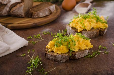plate: Scrambled eggs, wholegrain bread with fresh microgreens on top Stock Photo