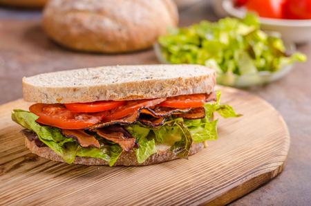 BLT sandwich with lettuce, delish healthy bread