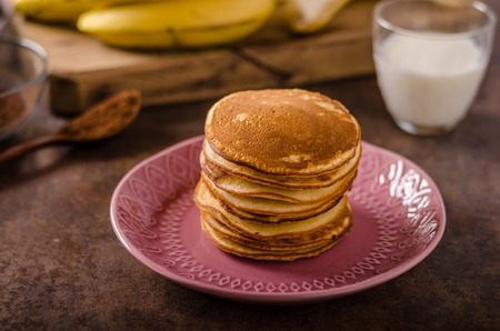 American pancakes with banana, chocolate, delish photo for advertisment Stock Photo