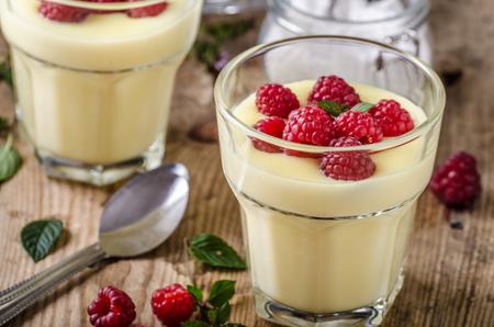 Vannila berries pudding fresh homemade dessert