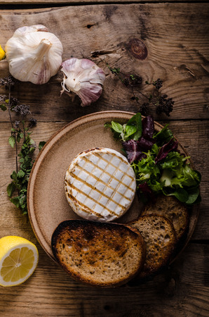 Grilled camembert cheese, mini salad and baked bread Stock Photo