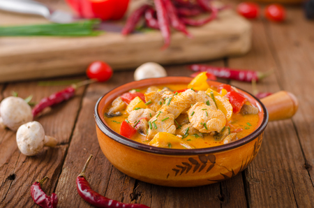 Chicken curry vegetable delish food, hot and spicy food Stock Photo