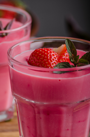 Strawberries puddink photo, delish and simple dessert Stock Photo