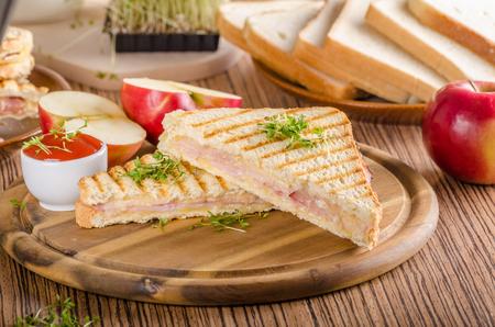 Tostada de jamón con queso Panini, manzana fresca, bocadillo de regreso a la escuela, fotografía de alimentos Foto de archivo - 95902726