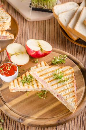 Pain grillé au jambon au fromage Panini, pomme fraîche, sandwich au dos, photographie culinaire Banque d'images - 95902727