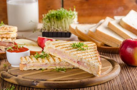 파니니 치즈 햄 토스트, 신선한 사과, 다시 학교 샌드위치, 음식 사진