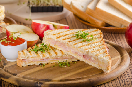 Tostada de jamón con queso Panini, manzana fresca, bocadillo de regreso a la escuela, fotografía de alimentos