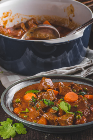 Beef stew with carrots, food photography, lot of herbs inside stew