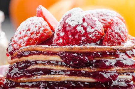 Pancakes strawberry, sugar and jam Stock Photo - 97435550