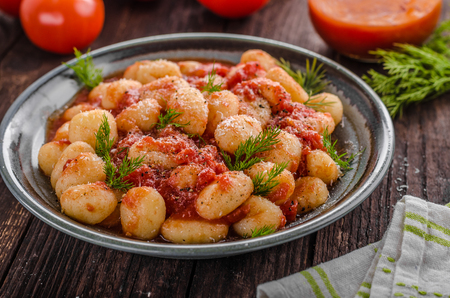 Gnocchi tomato sauce herbs, fresh parmesan cheese top, delish food
