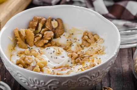 Fresh cheese with honey and walnuts, food photography, food stylind