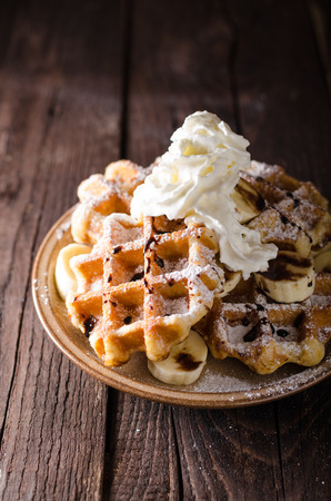 Sugar waffles product photo, food photography, food stock, place for advertisment 免版税图像