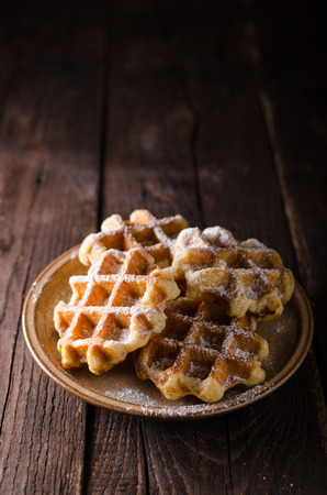 Sugar waffles product photo, food photography, food stock, place for advertisment 스톡 콘텐츠