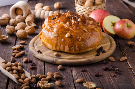 Czech cake chrismas celebration, delish cake with nuts and walnuts, food photography, food stock, food advertisment