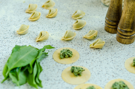 Making tortellini with cheese and bear garlic Banco de Imagens - 102698633