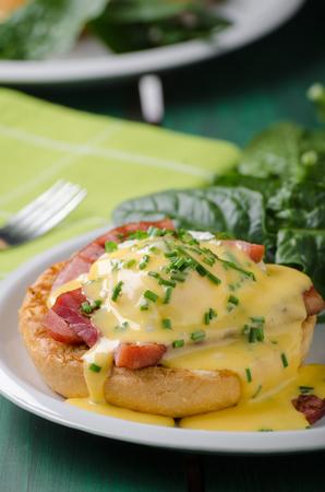 Egg benedict delish food, crispy bacon, food stock, food photography